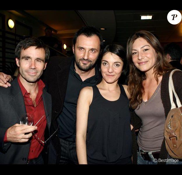 David Pujadas, Frédéric Lopez, Florence Foresti et Shirley Bousquet lors de la représentation du spectacle de Florence en avril 2006 à l'Olympia de Paris