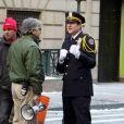 Matthew Modine sur le tournage de The Dark Knight Rises, à New York le 5 novembre 2011