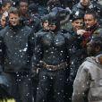 Christian Bale en costume de Batman, sur le tournage de The Dark Knight Rises, à New York le 5 novembre 2011