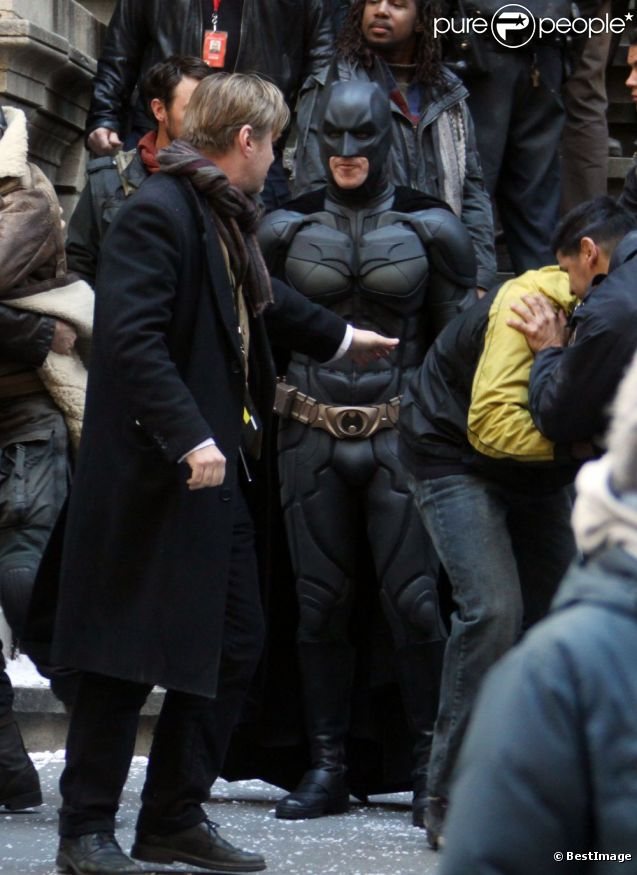 Christian Bale en costume de Batman, sur le tournage de The Dark Knight Rises, à New York le 5 novembre 2011