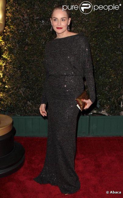 Sharon Stone, au dîner des Oscars à Los Angeles, le 12 novembre 2011.