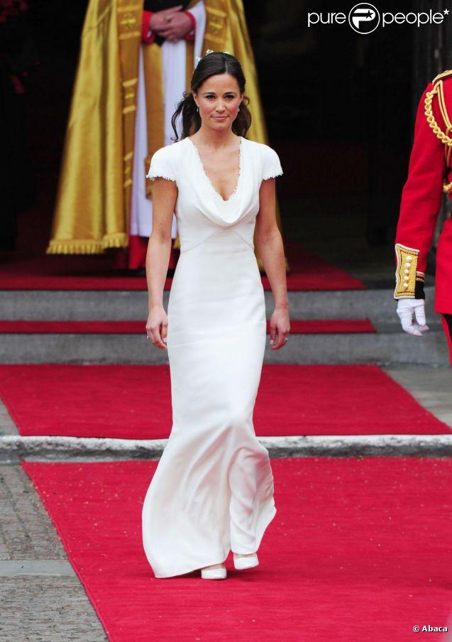 Pippa Middleton lors du mariage royal le 29 avril 2011 à Londres, portant sa superbe robe imaginée par la maison Alexander McQueen