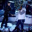 Justin Bieber et Busta Rhymes durant l'enregistrement de l'émission spéciale Noël au Rockefeller Center, de NBC, le 23 novembre 2011 à New York.