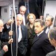 Nicolas Sarkozy dans le RER A le 5 décembre 2011