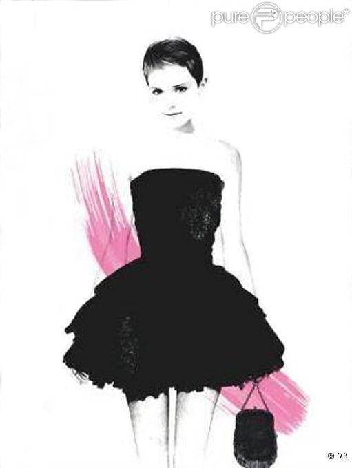 Emma Watson, dessinée très girly pour les premiers visuels de la campagne Rouge In Love de Lancôme.