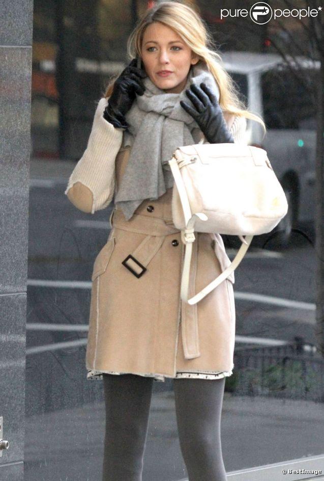 Blake Lively sur le tournage de Gossip Girl à New York, le 10 janvier 2012