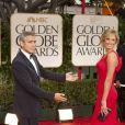 George Clooney et sa compagne Stacy Keibler lors des Golden Globes le 15 janvier 2012 à Beverly Hills