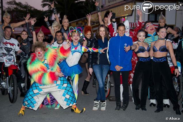 La princesse Stéphanie de Monaco et sa fille Pauline Ducruet lors du photocall annonçant la 36e édition du Festival International du Cirque de Monte-Carlo (19-29 janvier), le 17 janvier 2012.