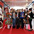 La princesse Stéphanie et sa fille Pauline Ducruet, en compagnie de Stéphane Bern, arrivent au chapiteau Fontvieille dimanche 22 janvier 2012, pour la quatrième soirée de spectacle du 36e Festival international du cirque de Monte-Carlo.