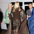 La princesse Maxima des Pays-Bas, dans une tenue Jan Taminiau, assistait le 27 janvier 2012 à la finale du concours Green Fashion dans le cadre de la Fashion Week d'Amsterdam.