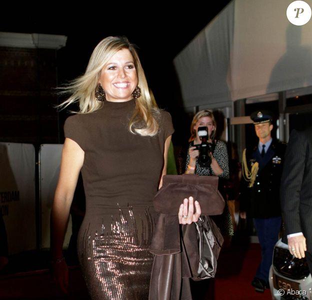 La princesse Maxima, habillée en Jan Taminiau, assistait le 27 janvier 2012 à la finale du concours Green Fashion dans le cadre de la Fashion Week d'Amsterdam.