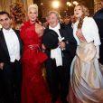 Brigitte Nielsen et son mari Mattia Dessi avec le magnat autrichien Robert Lugner au 56e Bal de l'Opéra à Vienne.   Comme chaque année, de nombreuses célébrités et personnalités ont assisté en toute élégance au 56e Bal de l'Opéra de Vienne, le 16 février 2012.