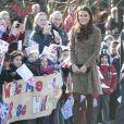 Kate Middleton en visite officielle pour l'association The Art Room, à Oxford, le 21 février 2012.