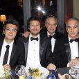 Thomas Langmann, Guillaume Canet, Frédéric Mitterrand et Alain Terzian lors de l'after-party de la 37ème cérémonie des César au Fouquet's, le 24 février 2012