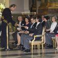 La famille royale au Te Deum donné vendredi 24 février 2012 en la chapelle royale au lendemain de la naissance de la princesse Estelle de Suède.