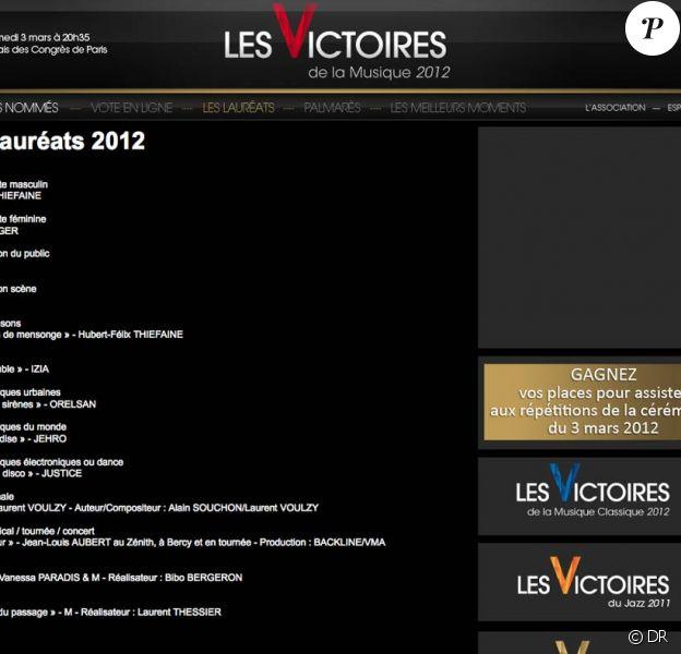 Les Victoires de la Musique 2012 ont fait la part belle aux ''anciens''.