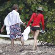 Paul McCartney et Nancy Shevell sur une plage de Saint-Barthélemy, le 15 mars 2012.