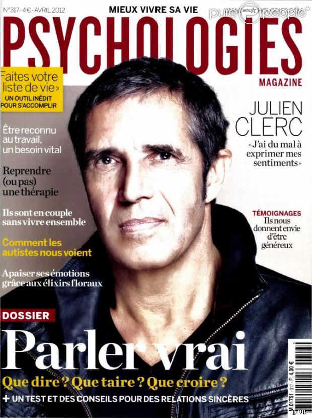 Julien Clerc en couverture de  Psychologies Magazine , avril 2012.