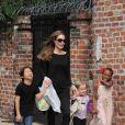 Angelina Jolie et trois de ses enfants, PAx, Zahara et Vivienne, en mars 2012 à la Nouvelle Orléans