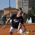 Guy Forget en action... Le prince Albert II de Monaco disputait le 21 avril 2012 un double exhibition avec Arnaud Boetsch, Guy Forget et PPDA, sous l'arbitrage d'Ilie Nastase, dans le cadre du Rolex Masters 1000 de Monte-Carlo.