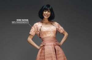 Lio en top model, scotchée par une robe faite de pansements