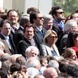 Christophe Lambert et sa femme Marie Sara le 1er mai 2012 lors du meeting de Nicolas Sarkozy au Trocadéro à Paris