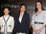 La princesse Madeleine, entre la reine Silvia et Geena Davis, mène les débats