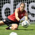 Hope Solo en plein entraînement durant la Coupe du Monde de football féminin. Moenchengladbach (Allemagne), le 13 juillet 2011.