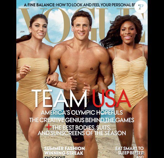 Hope Solo, Ryan Lochte et Serena Williams, photographiés par Annie Leibovitz, mènent la délégation olympique américaine en couverture du Vogue de juin.