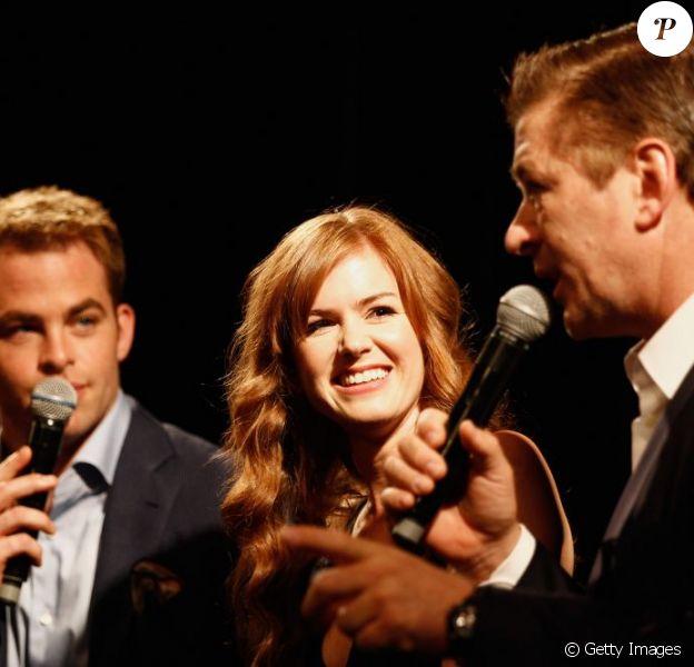 Alec Baldwin, Isla Fisher, Chris Pine sont venus présenter le film d'animation Les Cinq légendes au festival de Cannes, le 16 mai 2012.