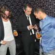 Frédéric Beigbeder, Michel Denisot et Eden Hazard lors du concert de Rick Ross au Gotha Club à Cannes le 21 mai 2012