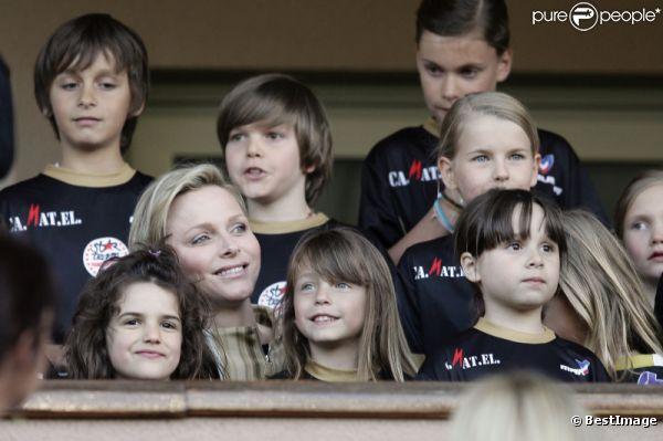 La princesse Charlène le 22 mai 2012 à Monaco pour un match de charité organisé au profit de l'association de la princesse Charlène