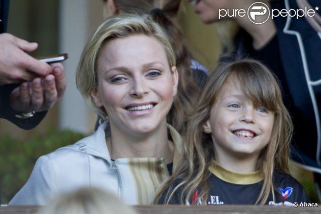 La princesse Charlène lors d'un match de foot de charité donné en faveur de l'association de la princesse Charlène au Stade Louis II de Monaco le 22 mai 2012