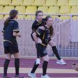 Alexandra de Hanovre lors d'un match de foot de charité donné en faveur de l'association de la princesse Charlène au Stade Louis II de Monaco le 22 mai 2012