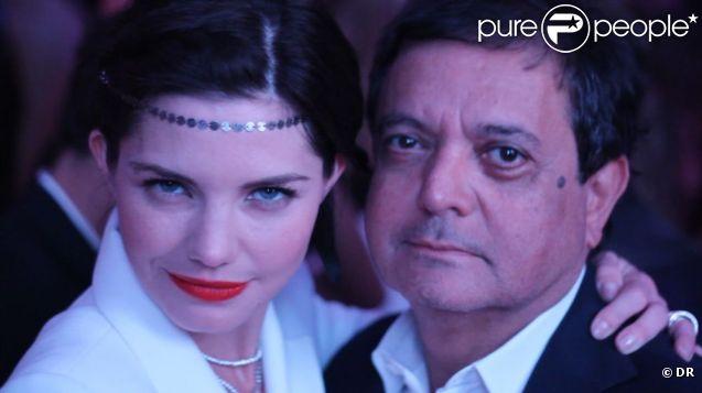 Edouard Nahum et sa nouvelle égérie Delphine Chanéac fêtent le lancement de leur nouvelle campagne au VIP Room de Cannes. Le 21 mai 2012.