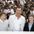 Tye Sheridan, Matthew McConaughey et Jacob Lofland lors du photocall du film Mud au Festival de Cannes le 26 mai 2012