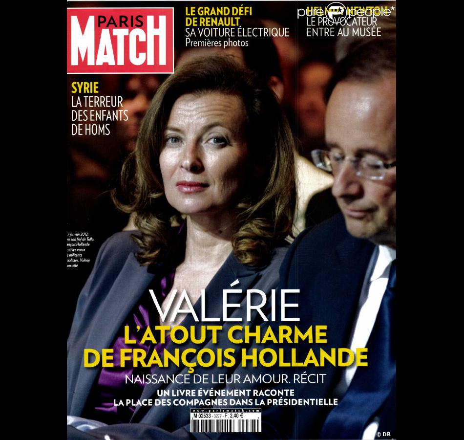 val rie trierweiler et fran ois hollande en couverture de paris match en kiosques le 8 mars 2012. Black Bedroom Furniture Sets. Home Design Ideas