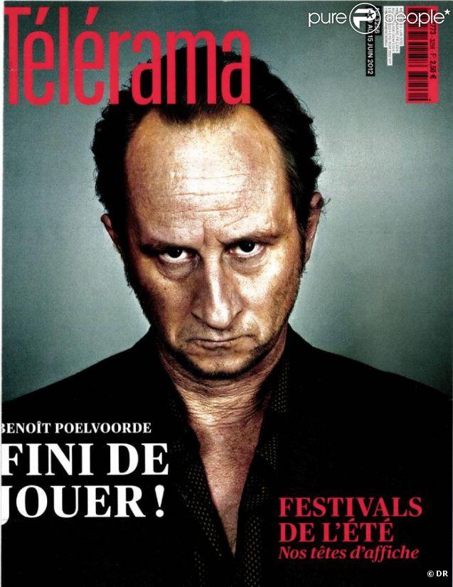 Benoît Poelvoorde en couverture du nouveau numéro de  Télérama, en kiosques le 6 juin 2012.