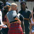 Amber Rose très en beauté sur le tournage de School Dance, de Nick Cannon, à Norwalk, le 18 juin 2012