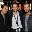 EXCLU : Gad Elmaleh, Nicolas Coullier et M. Pokora au Stade de France pour les concerts de Johnny Hallyday, juin 2012.
