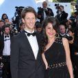 Marion Jollès et Romain Grosjean le 22 mai 2012 au Festival de Cannes. La journaliste de TF1 et le pilote de F1 se sont mariés le 27 juin 2012 à Chamonix.