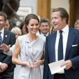 Kate Middleton, superbe dans une robe Roksanda Ilincic déjà portée en 2011 à Los Angeles, lors de la réception Creative Industries organisée par le Founders Forum et pour la campagne gouvernementale GREAT, à l'Académie royale des arts de Londres, le 30 juillet 2012, en marge des JO.