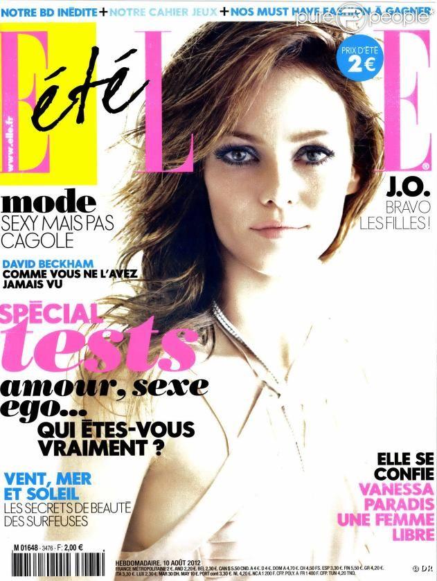 Vanessa Paradis en couverture du magazine Elle du 10 août 2012
