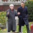 US director Woody Allen with actor John Turturro on the set of Allen's upcoming film 'Fading Gigolo' co-starring Vanessa Paradis, outside a house in Crown Heights, Brooklyn, New York City, NY, USA on October 25, 2012. Photo by Charles Guerin/ABACAPRESS.COM26/10/2012 - New York City