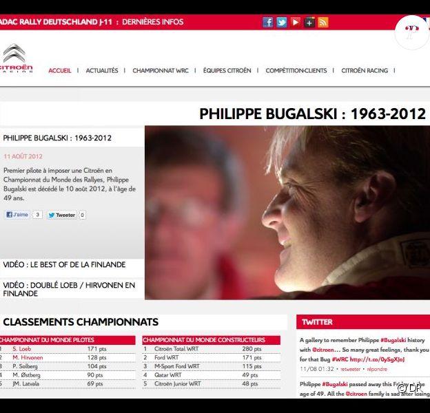 Philippe Bugalski est mort le 10 août 2012 à 49 ans. La famille Citroën Racing, très émue, lui rend hommage sur son site...