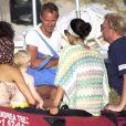 Boris Becker, sa femme Lilly Kerssenberg et leur fils Amadeus en vacances en famille à Formentera le 13 août 2012