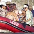 Promenade en bateau à Formentera pour Boris Becker, sa femme Lilly Kerssenberg et leur fils Amadeus le 13 août 2012