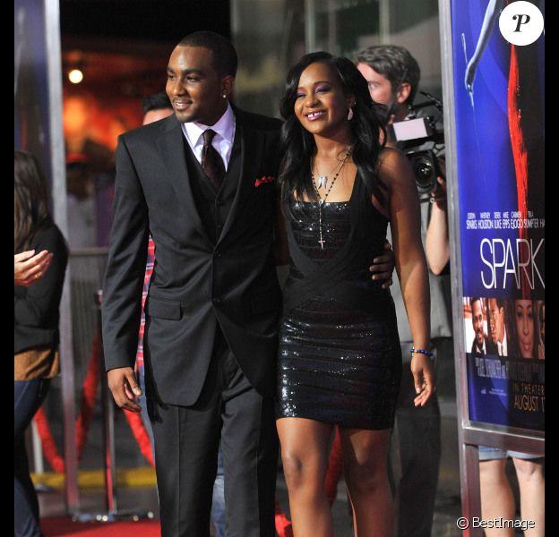 Nick Gordon, fils adoptif de Whitney Houston, et Bobbi Kristina, fille de la star, lors de l'avant-première du film Sparkle à Hollywood le 16 août 2012
