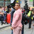 Robbie Williams le 16 août 2012 à Londres sur le tournage de son nouveau clip.
