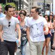 Penn Badgley et Ed Westwick sur le tournage de Gossip Girl à New York, le 21 août 2012